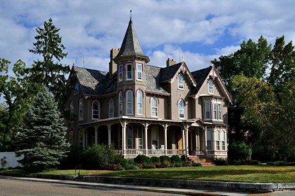 Harrisonburg, VA Joshua Wilton House three story stately victorian with slate roof, now a fine dining restaurant.