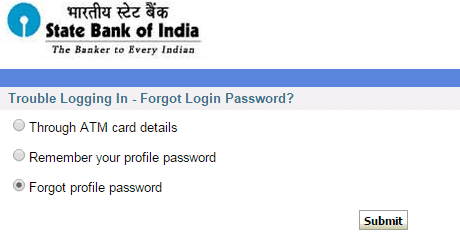 password recover methods sbi