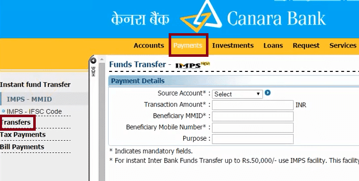payments transfer canara bank