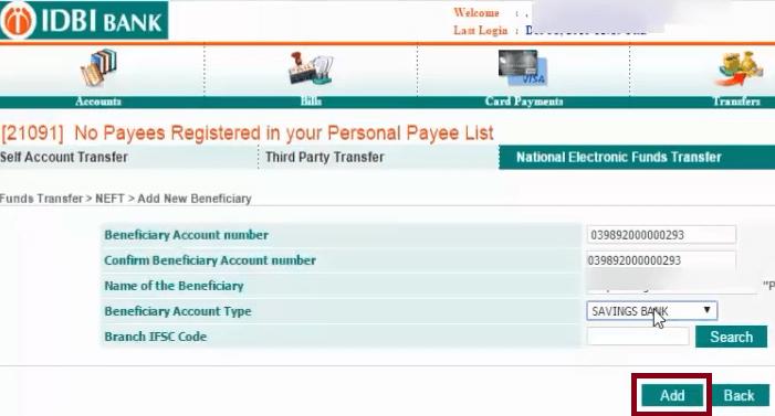 add new beneficiary in idbi bank