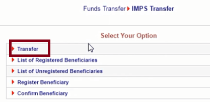 fund transfer using imps ubi