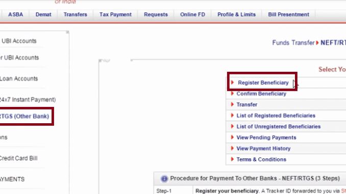 register beneficiary union bank of india