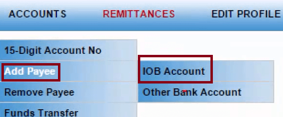 add payee iob account