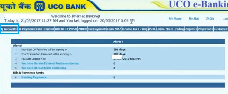 uco bank account balance check