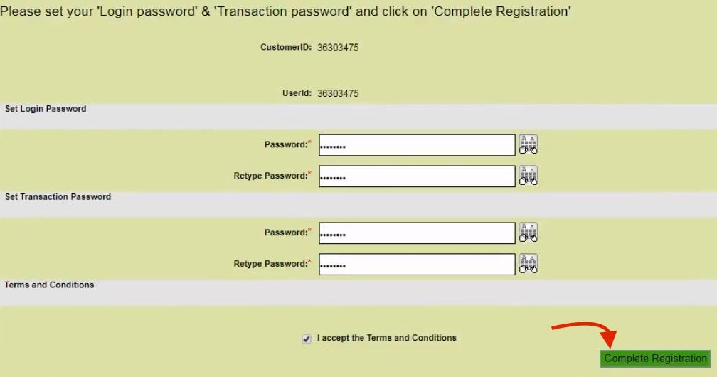 set login transaction password obc net banking