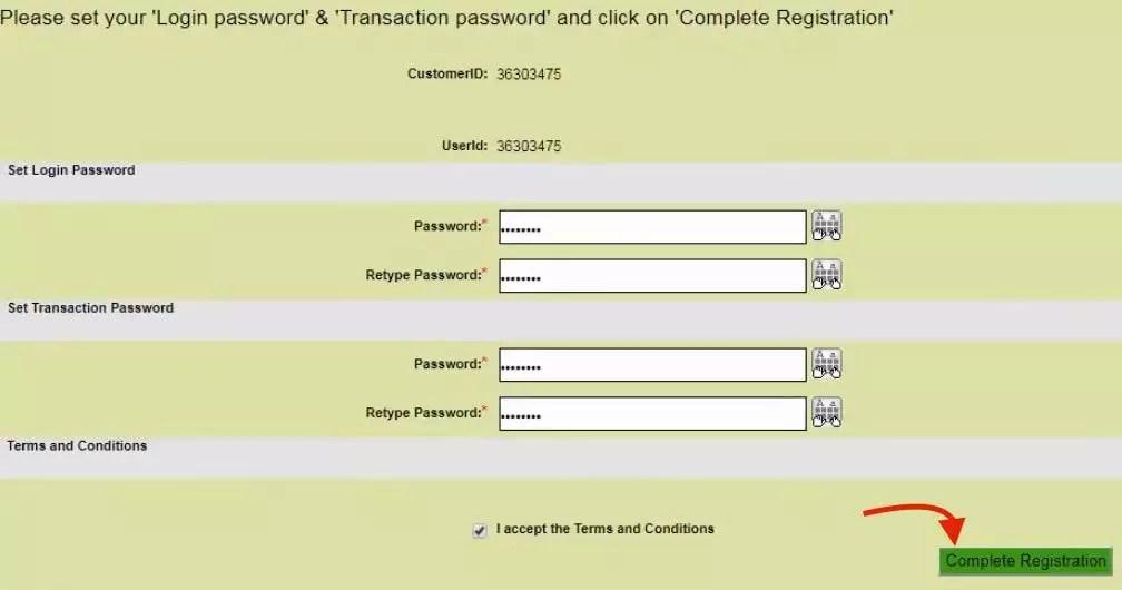 set login transaction password obc net banking