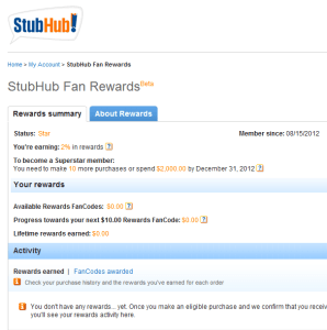 Stubhub Fan Rewards Pilot Program