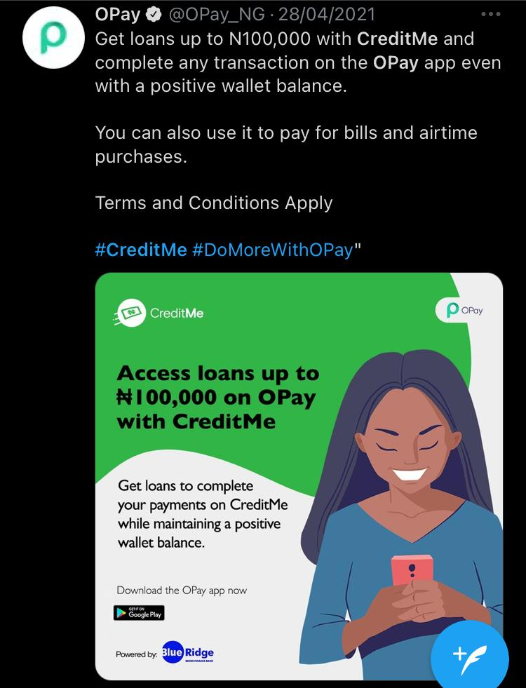 opay-creditme-banknaija-twitter-features