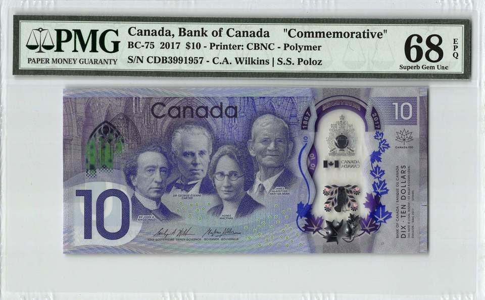 Graded Canada $10 banknote