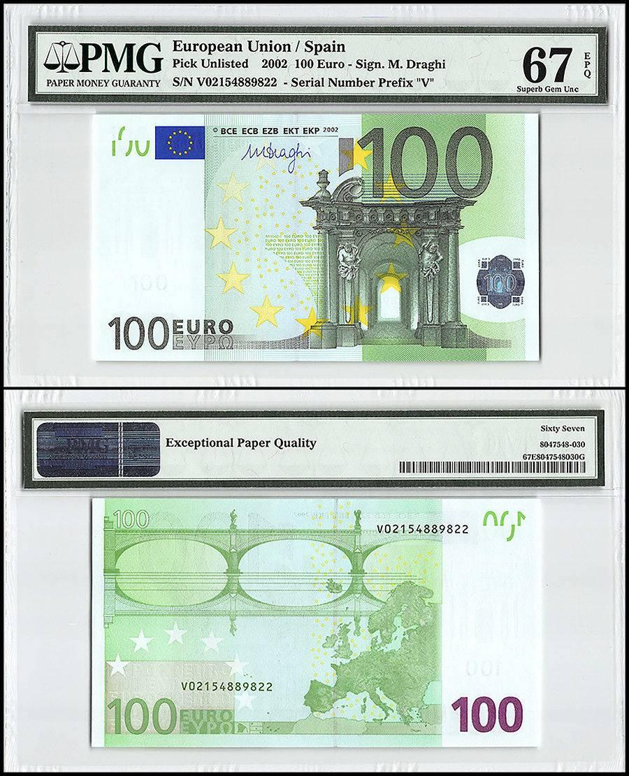 European Union (Spain) 100 Euro, 2002, P-NEW, Prefix V, Union Flag, PMG 67
