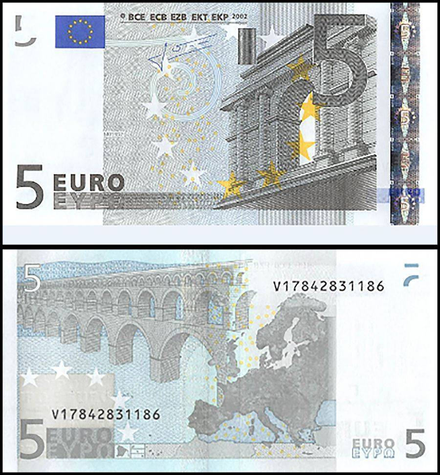 European Union (Spain) 5 Euros, 2002, P-8v, UNC, Pefix-V