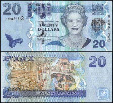 Fiji 20 Dollars banknote featuring Queen Elizabeth II on the obverse and the work life of Fiji on the reverse