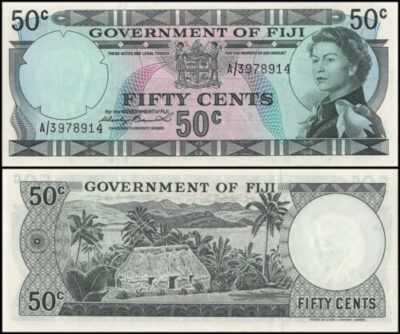 Banknote featuring Queen Elizabeth II with signature from Wesley Barret, Thatched House on the reverse