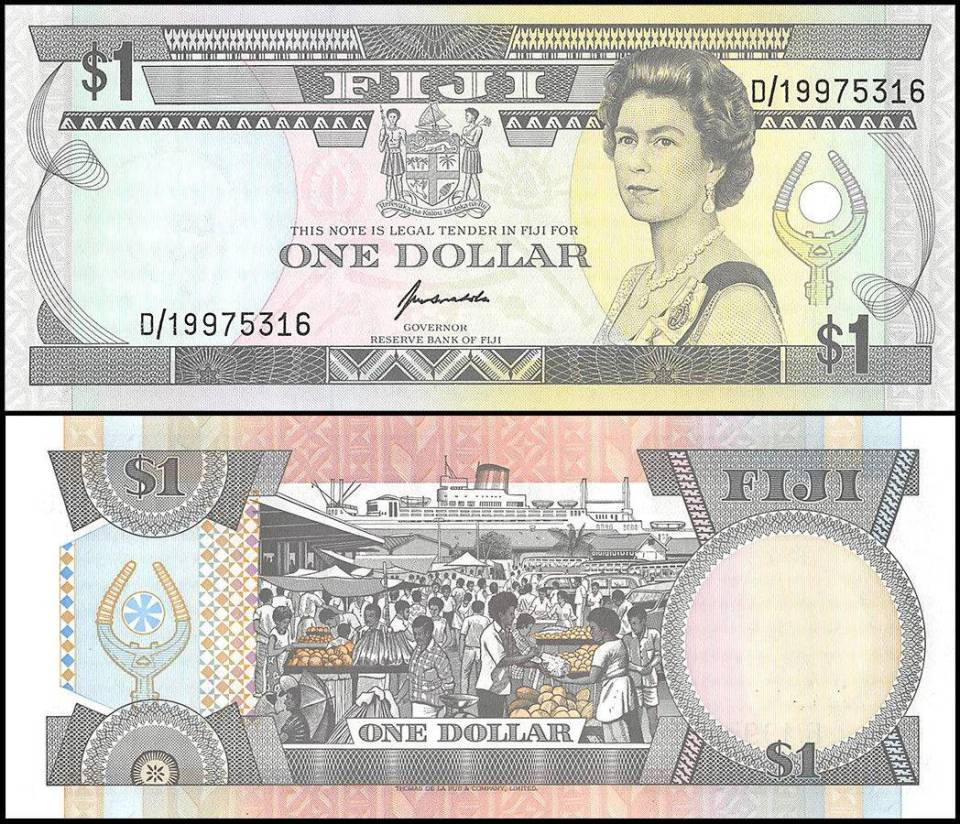 Fijian banknote from 1993 featuring Queen Elizabeth ll