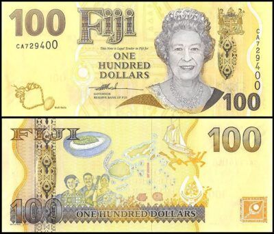 Fiji 100 dollars banknote featuring Queen Elizabeth II on the obverse and a map of the island with three musicians on the reverse