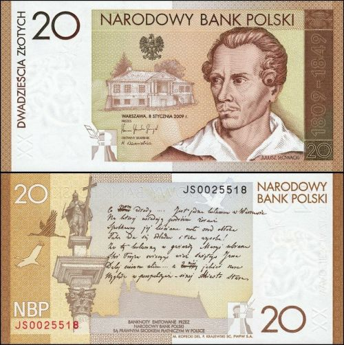 Polish 20 Zloty, 2009 colored in brown, yellow and white