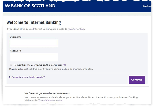 Bank Scotland Personal Banking Online
