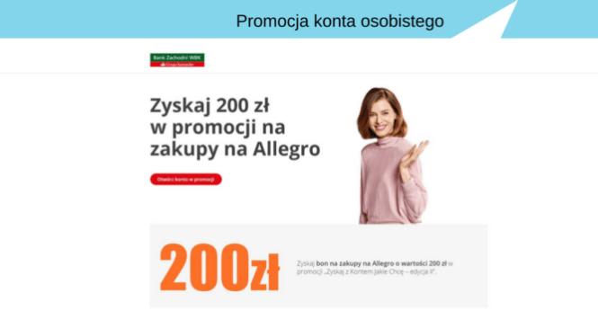 Szybkie 200 zł do wydania na Allegro od Banku Zachodniego WBK.