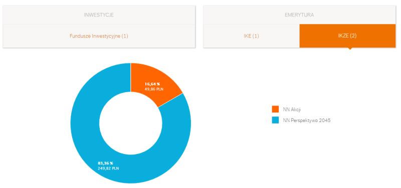 Wykres pokazujący, jaki udział mają poszczególne fundusze, kupione w ramach IKZE