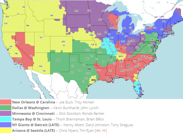 2013 Week 16 FOX Local NFL Schedule