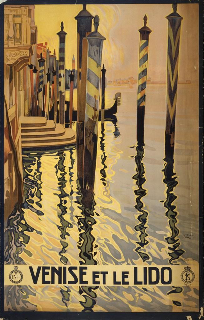 Venise et le lido-affiche ancienne-italie