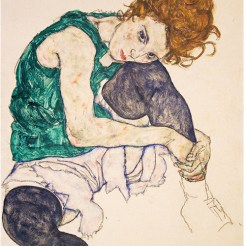 Seated woman with legs drawn up, Schiele