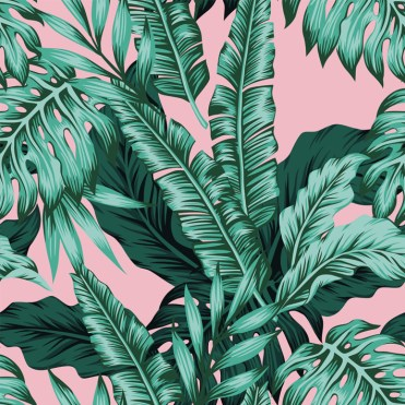 Tropical leaves green seamless pink background