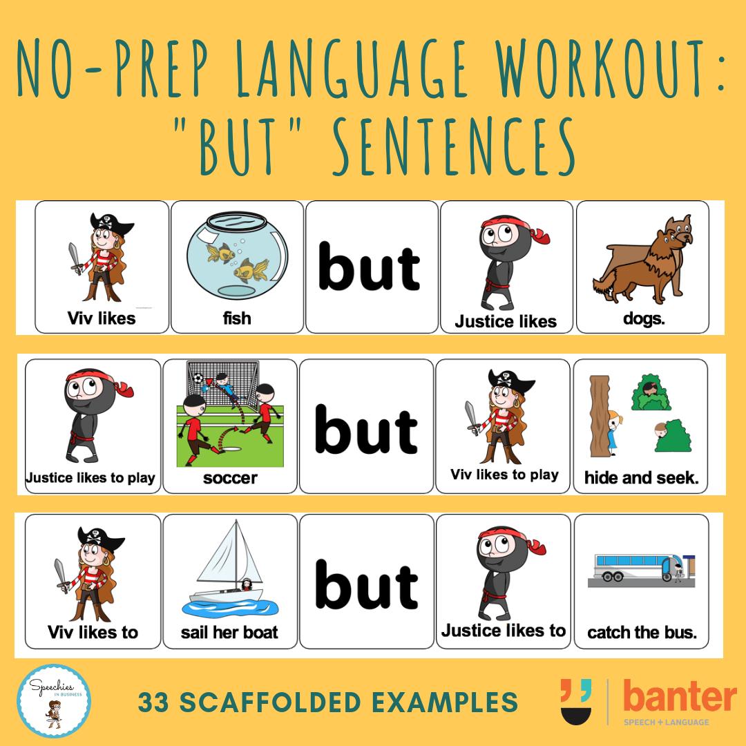 Compound Conjunction Sentence Builders But Banter Speech Language