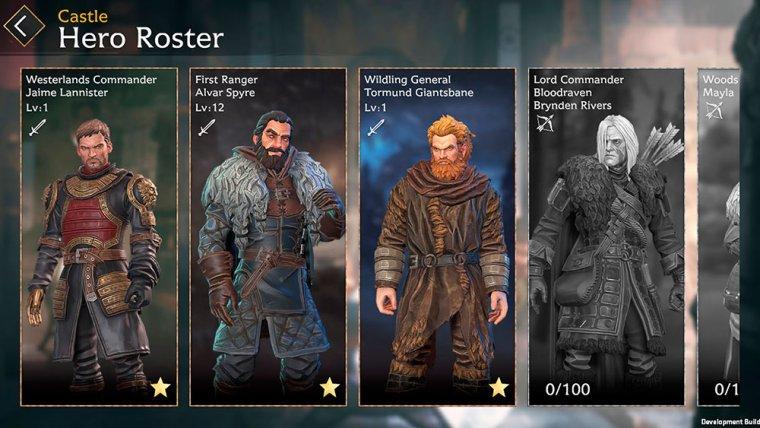 pantalla de selección de personajes en Game of Thrones Beyond the Wall con Jaime Lannister, Melisandre y Tormund Giantsbane
