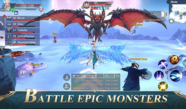 lucha contra monstruos épicos con un dragón alado en perfect world