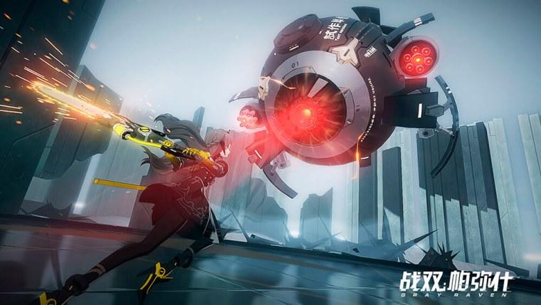 Punishing Gray Raven luchando contra un aparato volador