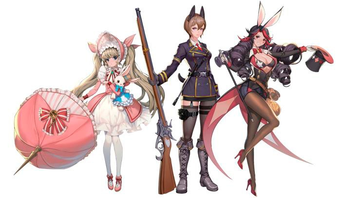 Shadow seven nuevos personajes killy, rossina y frill que forman parte de los Lucky Rabbit Roaming Corps.