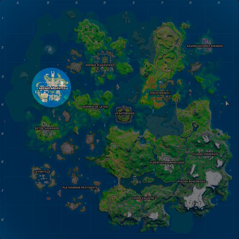 Mapa Arenas Ardientes Fortnite