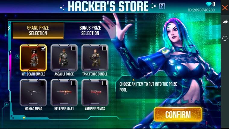 free fire evento tienda del hacker grand prize