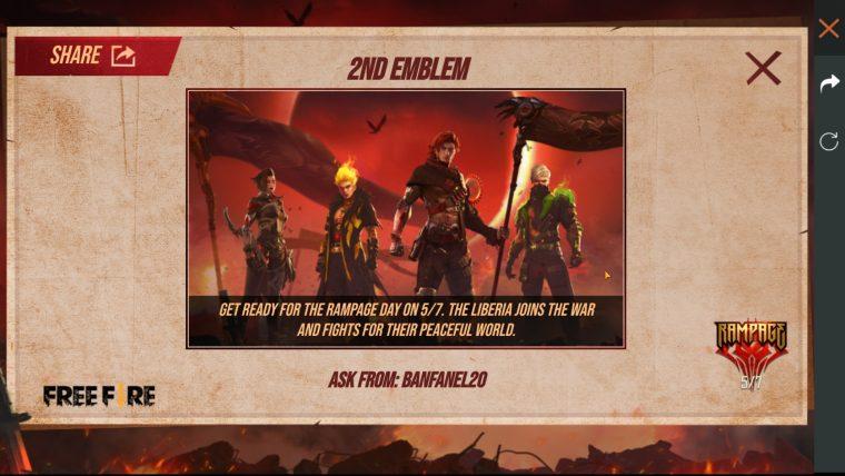 Free Fire evento gira y colecciona emblemas, como pedir emblemas a tus amigos.
