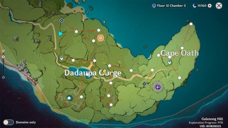 genshin impact estrella desconocida Cabo del juramento mapa fragmentos de meteorito