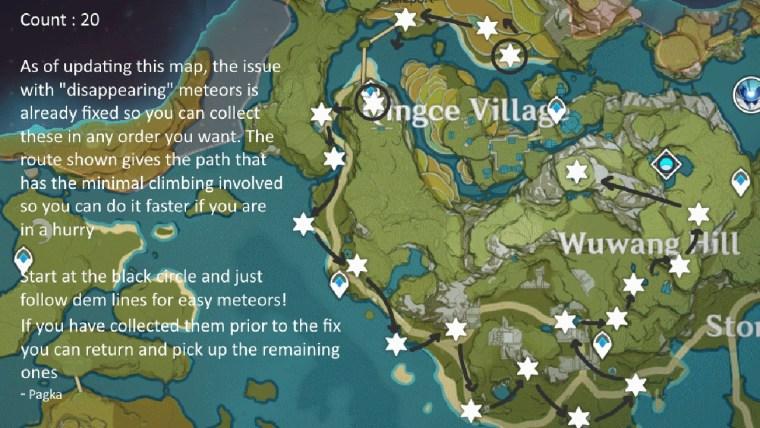genshin impact estrella desconocida aldea chingtse mapa fragmentos de meteorito