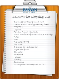 Student Pilot shopping list