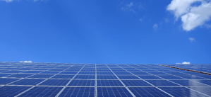 Blue sky with solar panels
