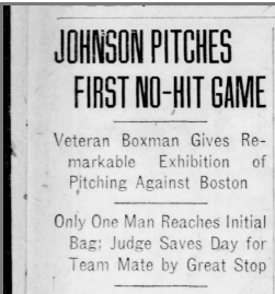 Walter Johnson no-hitter headline