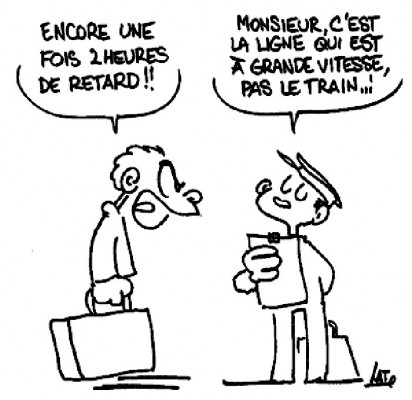 dessin humoristique à propos des retards de train