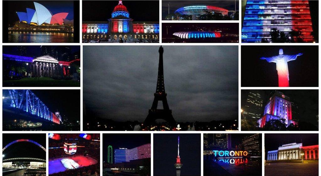 Monuments illuminés aux couleur du drapeau français en soutien aux victimes des attentats du 13 novembre 2015 à Paris.