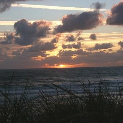 coucher soleil dans les dunes