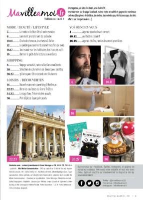 sommaire et remerciements dans le magazine MaVilleAMoi n°32