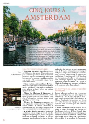 Article Amsterdam page 1 Magazine MaVilleAMoi N°45 - blog Bar a Voyages