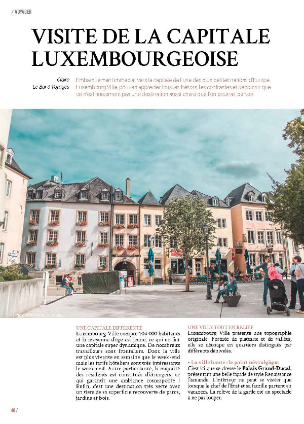 Article Luxembourg Ville page 1 - Magazine MaVilleAMoi n°47 - blog Bar à Voyages