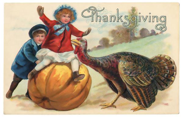 carte postale vintage illustrant Thanksgiving