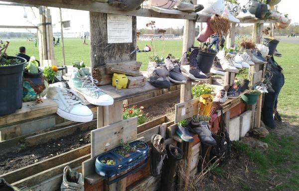 exposition de plantes en chaussures dans Tempelhof