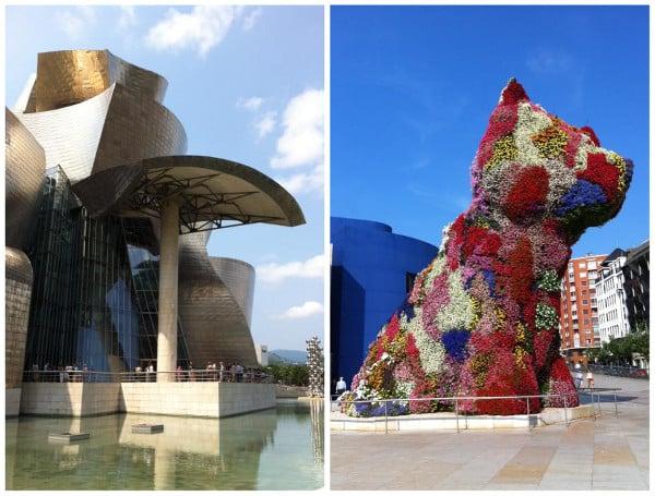 le bâtiment du musée Guggenheim et la statue chien en fleurs à Bilbao