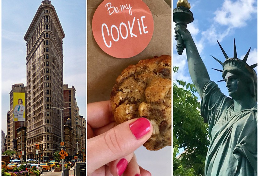 Montage photo avec le Flatiron Building à New York, un cookie et la Statue de la Liberté de Bordeaux